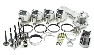 TIER 2 With ESC --- ENGINE# 26-00120-XX   Please Specify What Size Bearings & Pistons When Ordering  Each Kit Includes:  Pistons w/rings Water Pump Main Bearings Glow Plugs Thrust Bearings Conn Rod Bushings Connecting Rod Bearings Exhaust Valves Intake Valves Front & Rear Seals Gasket Set Freeze Plugs Valve Guides Australian after market part